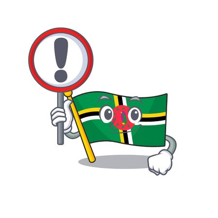 cool and funny flag dominica raised up a Sign. Vector illustration