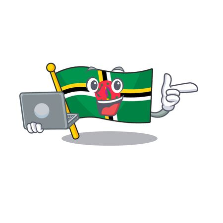 Smart character of flag dominica working with laptop. Vector illustration