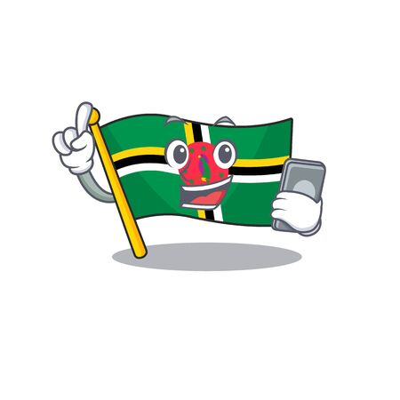 Cartoon design of flag dominica speaking on a phone. Vector illustration Ilustracja