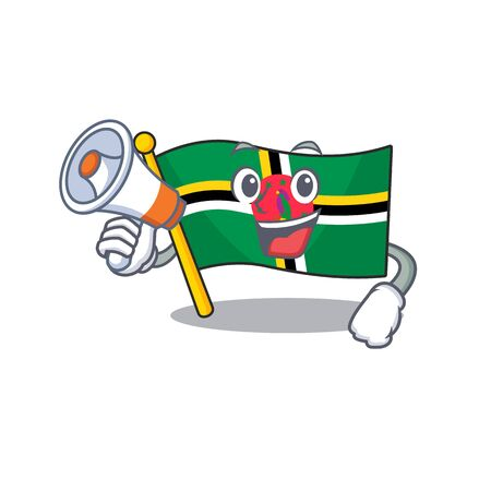 An icon of flag dominica having a megaphone. Vector illustration