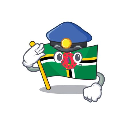 Flag dominica Cartoon mascot performed as a Police officer. Vector illustration