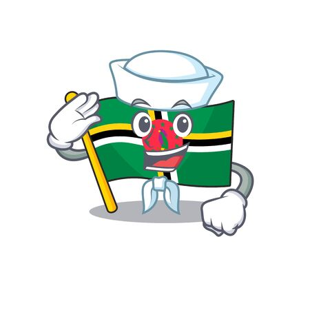 A mascot design of flag dominica Sailor wearing hat. Vector illustration