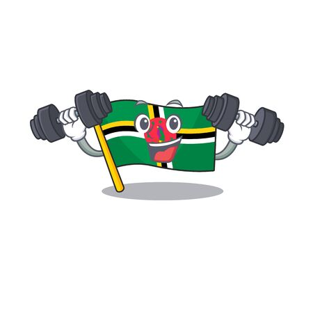 Sporty Fitness exercise flag dominica using barbells. Vector illustration Ilustracja