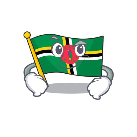 Cool flag dominica mascot character with Smirking face. Vector illustration