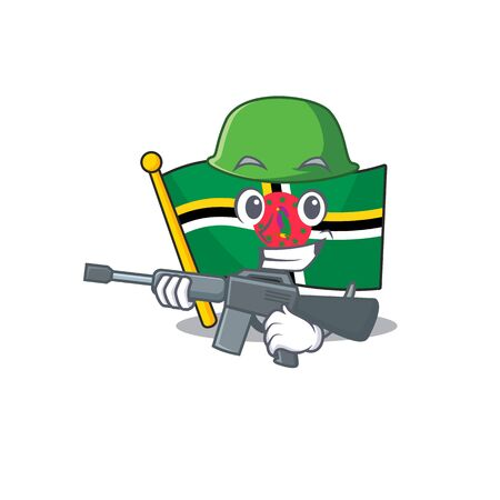 A cartoon design of flag dominica Army with machine gun. Vector illustration