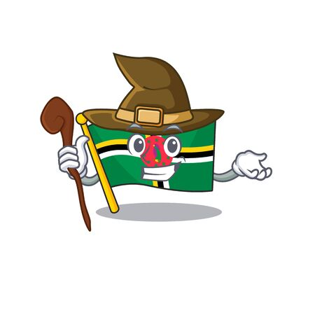 cartoon mascot style of flag dominica dressed as a witch. Vector illustration