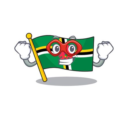 Smiley mascot of flag dominica dressed as a Super hero. Vector illustration