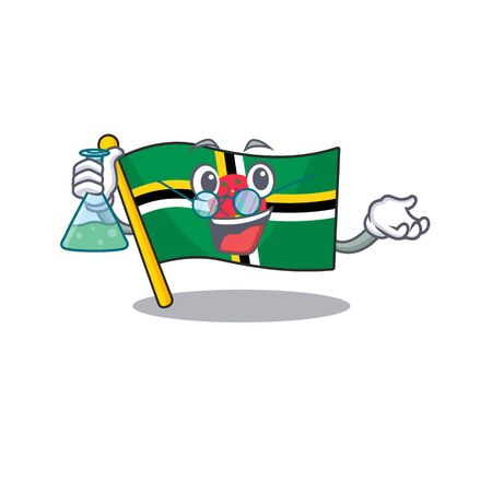 Smart Professor flag dominica cartoon character with glass tube. Vector illustration Ilustracja