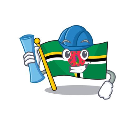 Elegant Architect flag dominica having blue prints and blue helmet. Vector illustration
