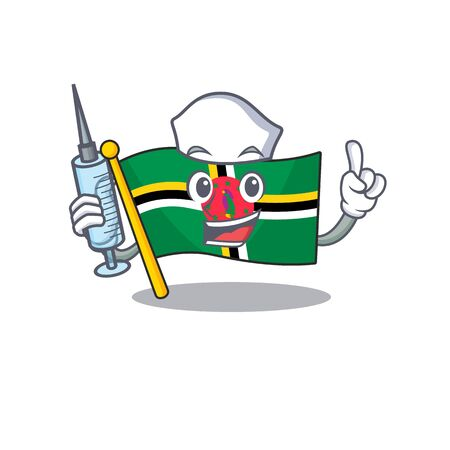 Smiley Nurse flag dominica cartoon character with a syringe. Vector illustration