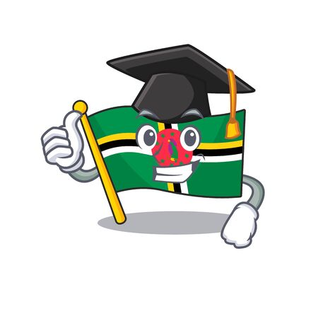 happy and proud of flag dominica wearing a black Graduation hat. Vector illustration Ilustracja