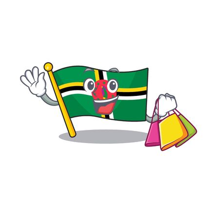 A happy rich flag dominica waving and holding Shopping bag. Vector illustration