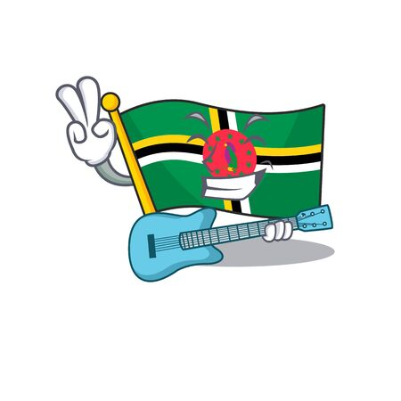 A mascot of flag dominica performance with guitar. Vector illustration
