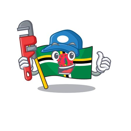 Cool Plumber flag dominica on mascot picture style. Vector illustration