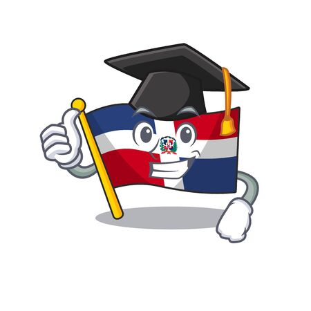happy and proud of flag dominican republic wearing a black Graduation hat. Vector illustration