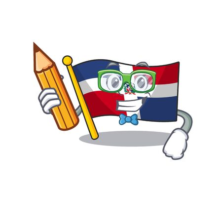 A picture of Student flag dominican republic character holding pencil. Vector illustration Ilustração