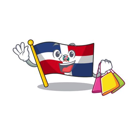 A happy rich flag dominican republic waving and holding Shopping bag. Vector illustration Ilustração