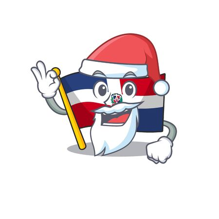 A picture of Santa flag dominican republic mascot picture style with ok finger. Vector illustration