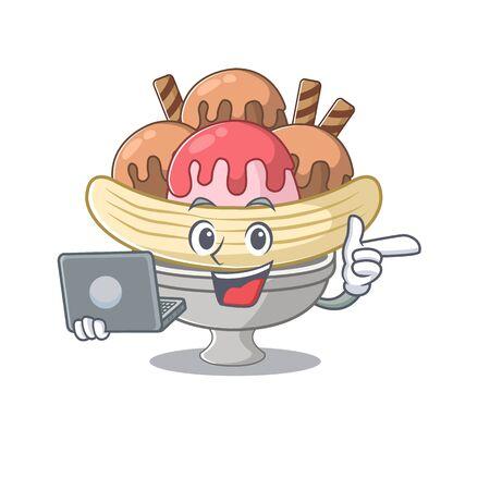 Smart character of banana split working with laptop