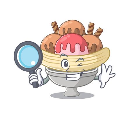 Cool and Smart banana split Detective cartoon mascot style Illustration
