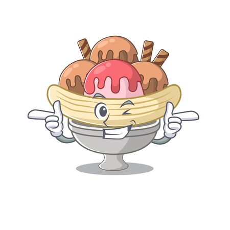 mascot cartoon design of banana split with Wink eye. Vector illustration Ilustração