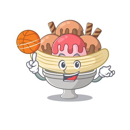 A mascot picture of banana split cartoon character playing basketball. Vector illustration Illustration