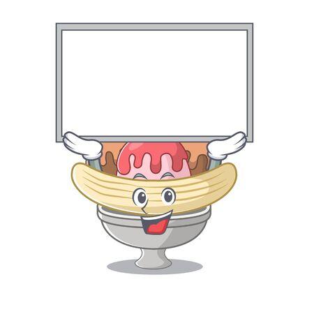 A mascot picture of banana split raised up board. Vector illustration Vettoriali