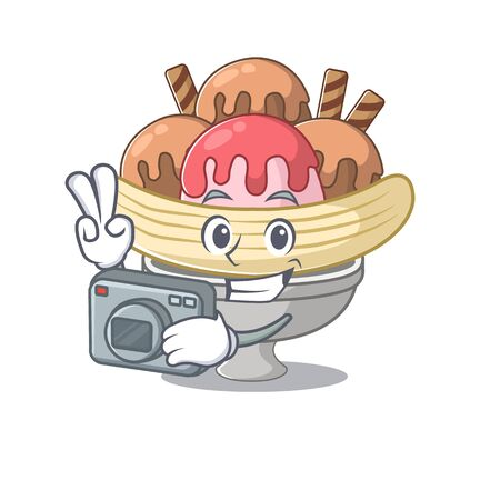 Cool Photographer banana split character with a camera. Vector illustration