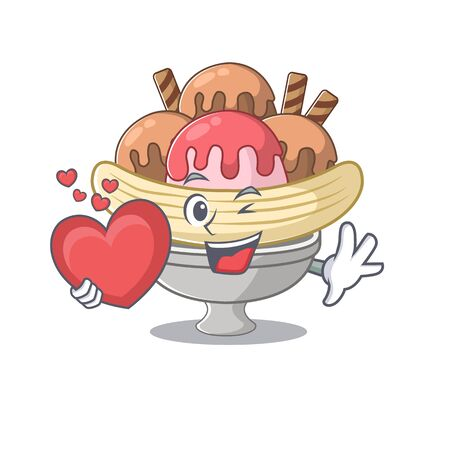 Funny Face banana split cartoon character holding a heart