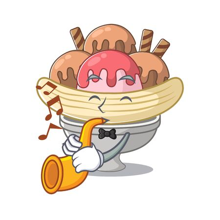 cartoon character style of banana split performance with trumpet. Vector illustration 向量圖像