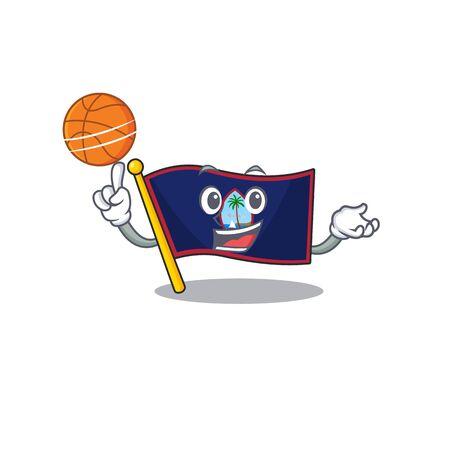 Una imagen de la mascota del personaje de dibujos animados de la bandera de guam jugando baloncesto Ilustración de vector