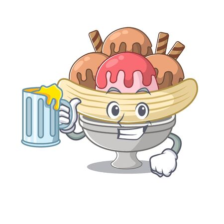 Happy banana split mascot design with a big glass