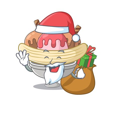 Santa banana split Cartoon character design having box of gift
