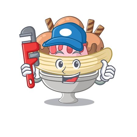 Cool Plumber banana split on mascot picture style 向量圖像