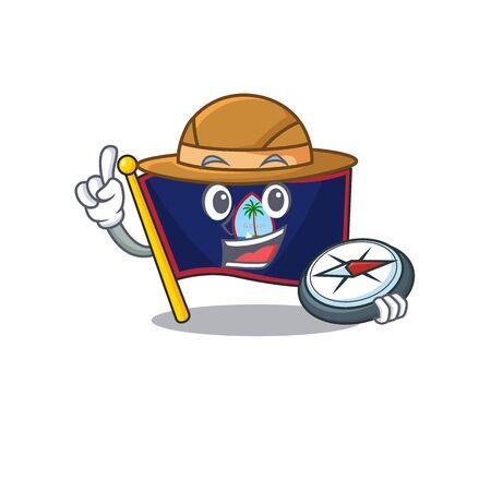 Flag guam stylized Explorer having a compass Illustration