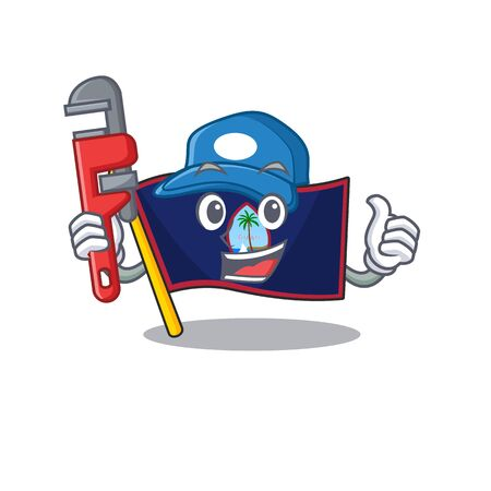 Cool Plumber flag guam on mascot picture style