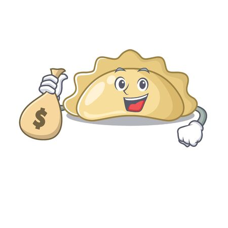 Happy rich pierogi cartoon character with money bag. Vector illustration