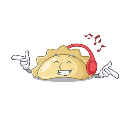 Listening music pierogi mascot cartoon character design. Vector illustration Ilustração