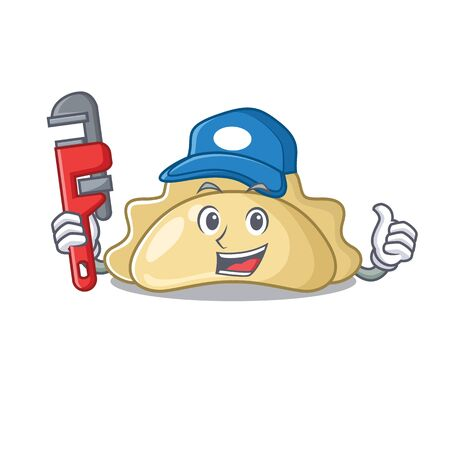 Cool Plumber pierogi on mascot picture style. Vector illustration Ilustração