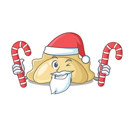 Pierogi Cartoon character in Santa costume with candy. Vector illustration Ilustração