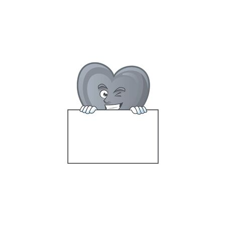 Grinning face grey love cartoon character style hides behind a board. Vector illustration