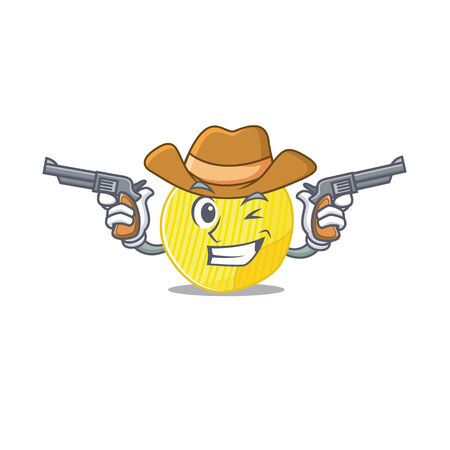 Potato chips dressed as a Cowboy having guns. Vector illustration