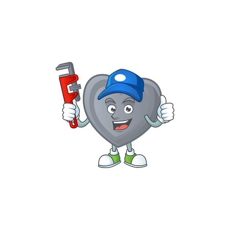 Cool Plumber grey love on mascot picture style. Vector illustration