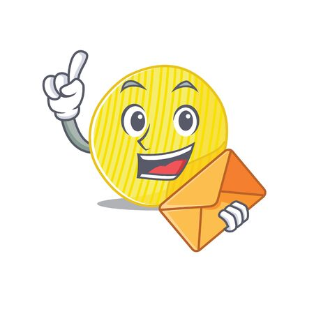 Cheerfully potato chips mascot design with envelope. Vector illustration