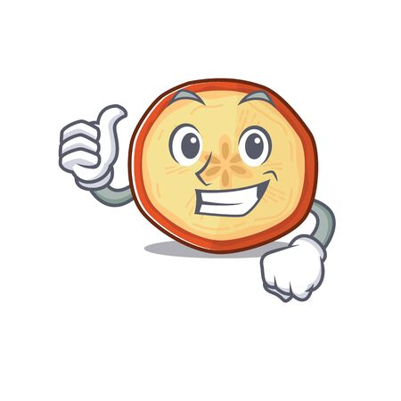 Cheerfully apple chips making Thumbs up gesture. Vector illustration