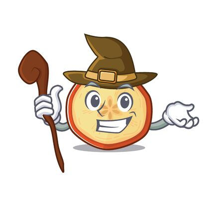 cartoon mascot style of apple chips dressed as a witch. Vector illustration