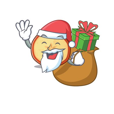 Santa apple chips Cartoon character design having box of gift