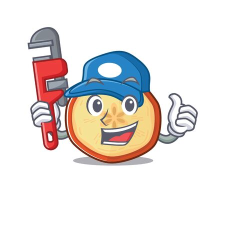 Cool Plumber apple chips on mascot picture style