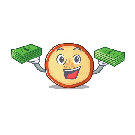 happy rich apple chips character with money on hands