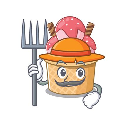 Cheerfully Farmer ice cream sundae cartoon picture with hat and tools. Vector illustration